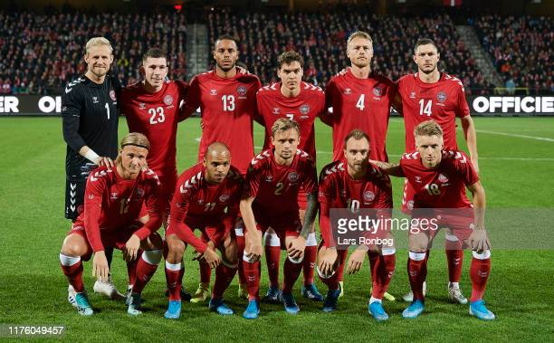 Denmark pose for a group picture prior to the international friendly match between Denmark and Luxembourg at Aalborg Portland Park on October 15,...