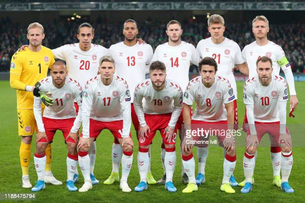 Denmark pose for a team photo ahead of the UEFA Euro 2020 qualifier between Republic of Ireland and Denmark at Dublin Arena on November 18, 2019 in...