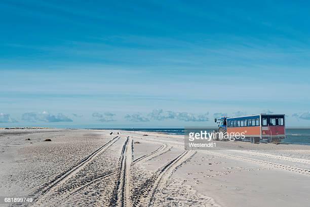 Denmark, Skagen, Grenen, tractor with trailer the beach