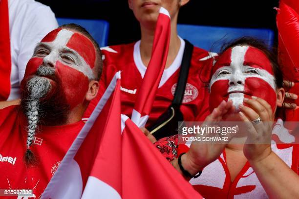 Denmark supporters cheer prior to the UEFA Womens Euro 2017 football tournament semifinal match between Denmark and Austria at the Rat Verlegh...