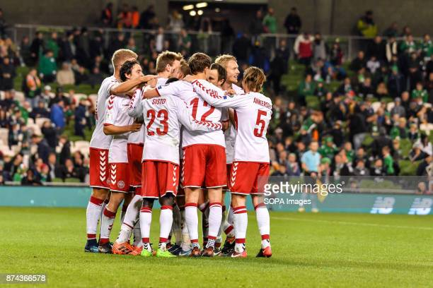Denmark team celebrate during the FIFA World Cup 2018 qualification Play off football match between Republic of Ireland and Denmark at the Aviva...