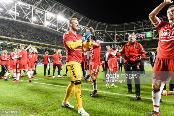 Denmark team celebrates during the FIFA World Cup 2018 qualification Play off football match between Republic of Ireland and Denmark at the Aviva...