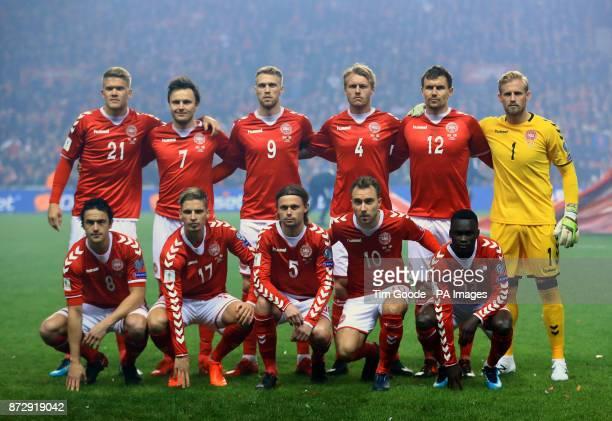 Denmark team group during the FIFA World Cup qualifying playoff first leg match at the Parken Stadium Copenhagen