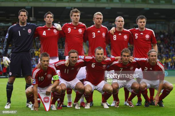 Denmark team group during the FIFA2010 World Cup Qualifying Group 1 match between Sweden and Denmark at the Rasunda Stadium on June 6, 2009 in Solna,...