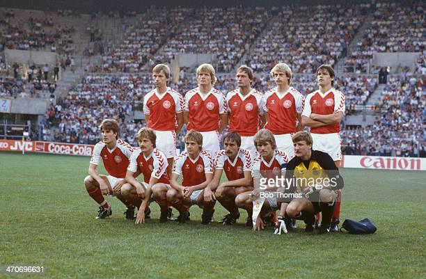 Denmark team group during the UEFA European Championship 1984 Group 1 match between Denmark and Belguim at La Meinau on June 19 1984 in Strasbourg...