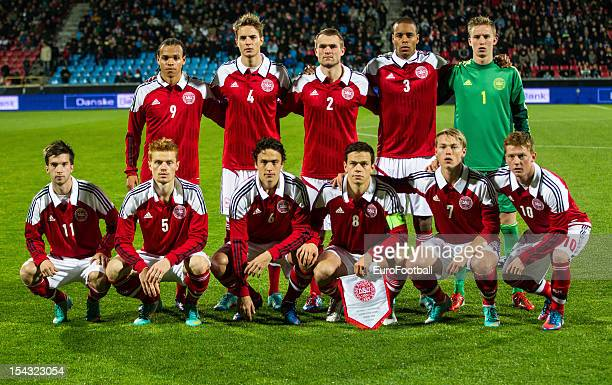Denmark team group taken prior to the UEFA European Under21 Championship playoff second leg match between Denmark and Spain held on October 16 2012...