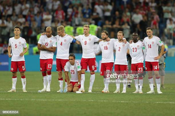 Denmark team line up ahead of the penalty shoot out during the 2018 FIFA World Cup Russia Round of 16 match between Croatia and Denmark at Nizhny...
