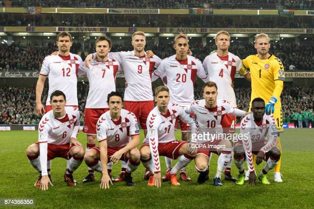 Denmark Team photo during the FIFA World Cup 2018 qualification Play off football match between Republic of Ireland and Denmark at the Aviva Stadium...