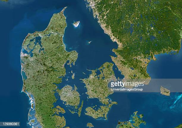 Denmark true colour satellite image Denmark comprises the peninsula of Jutland and the islands of Funen and Zealand along with many smaller islands...