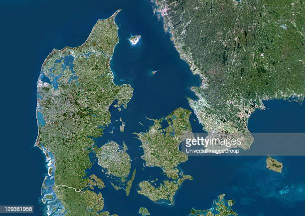 Denmark true colour satellite image with border Denmark comprises the peninsula of Jutland and the islands of Funen and Zealand along with many...