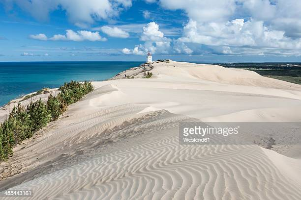 denmark, view of lighthouse near sea - jutland stock photos and pictures