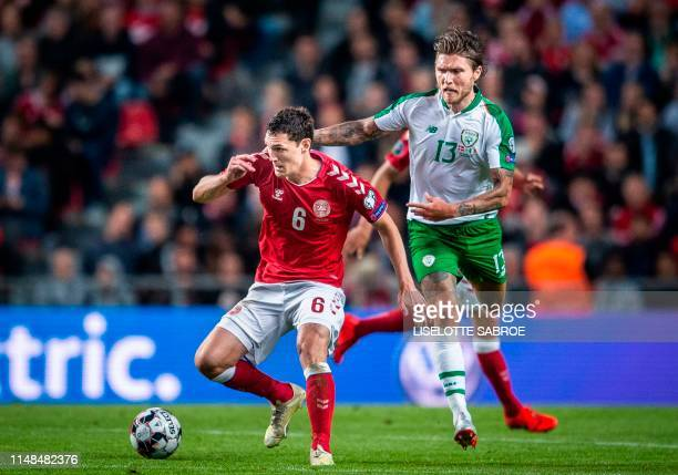 Denmark's Andreas Christensen vies with Ireland's Jeff Hendrick during the UEFA Euro 2020 qualifying football match between Denmark and Ireland in...