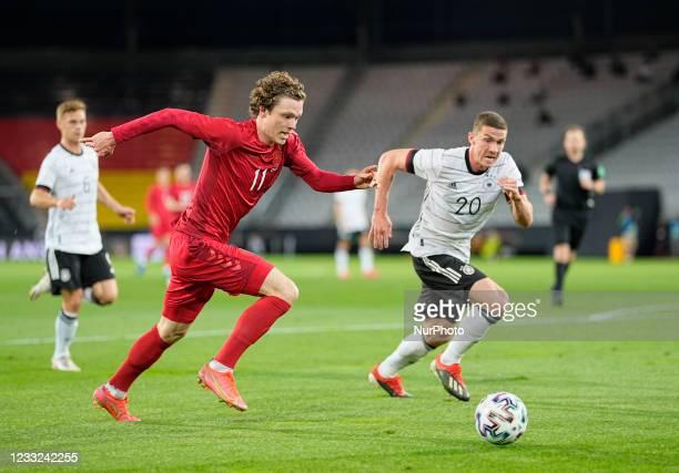 Denmarks Andreas Skov Olsen during the friendly pre Euro 2021 match between Germany and Denmark at Tivoli Stadium, Innsbruck , Austria on June 2,...