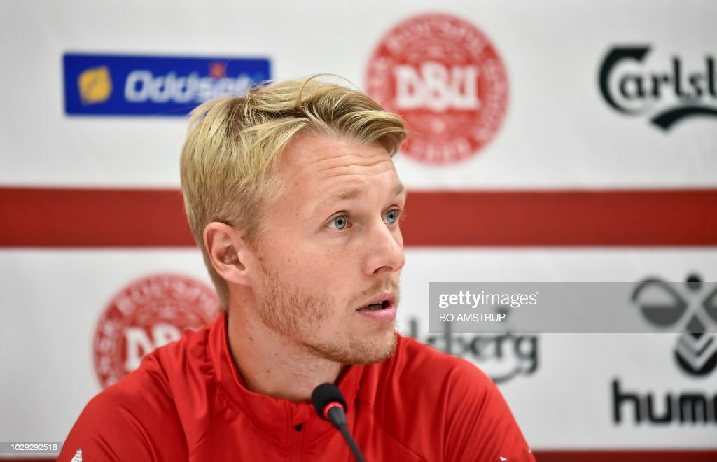 Denmark's captain Simon Kjaer speaks during a press conference on the eve of the Nations League football match between Denmark and Wales on September 8, 2018 at Ceres Park Stadium in Aarhus, Denmark. (Photo by Bo Amstrup / Ritzau Scanpix / AFP) / Denmark OUT