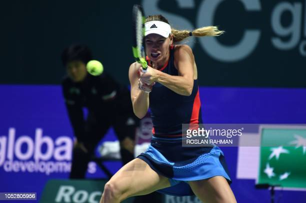 Denmark's Caroline Wozniacki hits a return against Czech Republic's Petra Kvitova during their singles match at the WTA Finals tennis tournament in...