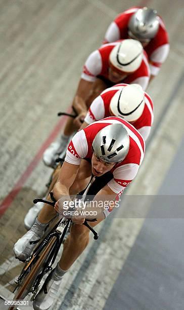 Denmark's Casper Jorgensen, Jens-Erik Madsen, Michael Morkov and Alex Rasmussen power their way to the gold medal in the final of the men's team...