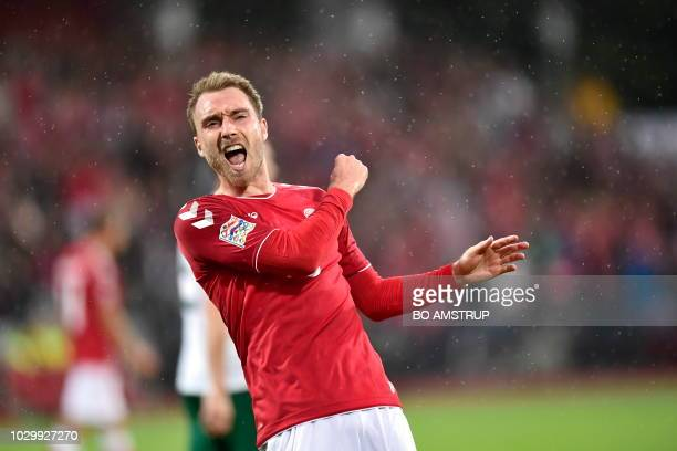 Denmark's Christian Eriksen celebrates scoring the 20 during the Nations League football match between Denmark and Wales on September 9 2018 at Ceres...