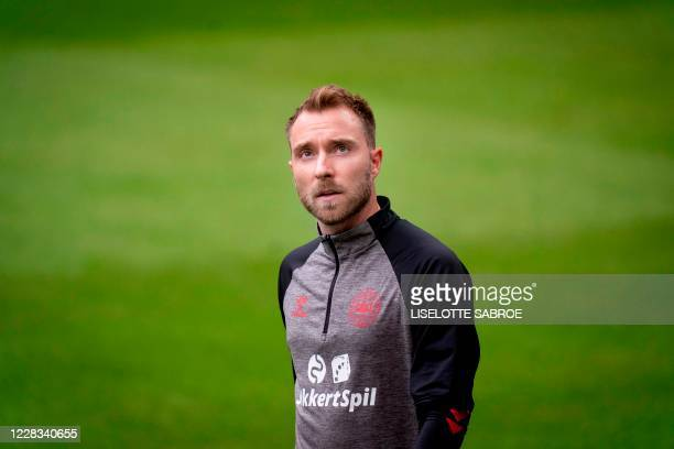 Denmark's Christian Eriksen takes part in a training session at Parken Stadium, on the eve of the UEFA Nations League football match between Denmark...