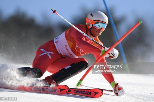 Denmark's Christoffer Faarup competes in the Men's Alpine Combined Slalom at the Jeongseon Alpine Center during the Pyeongchang 2018 Winter Olympic...