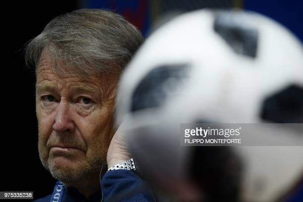 Denmark's coach Age Hareide looks on during a press conference at the Mordovia Arena in Saransk on June 15 during the Russia 2018 World Cup