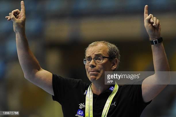 Denmark's coach Jan Pytlick gestures during their Women's World Handball Championship match against Japan in Sao Bernardo do Campo, Sao Paulo State,...