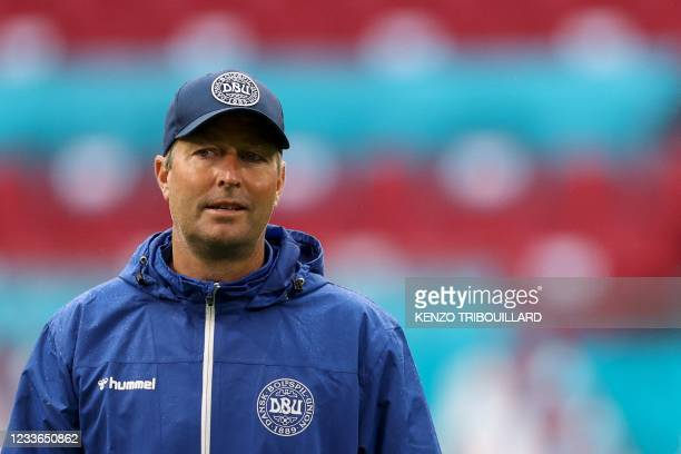 Denmark's coach Kasper Hjulmand leads an MD-1 training session at the Johan Cruyff Arena in Amsterdam on June 25 on the eve of their UEFA EURO 2020...