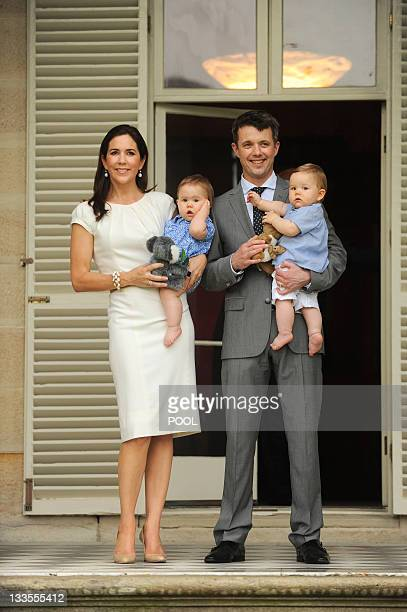 Denmark's Crown Prince Frederik and Australianborn Crown Princess Mary pose with their twins Princess Josephine and Prince Vincent during a visit to...