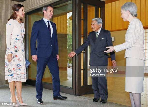 Denmark's Crown Prince Frederik and Crown Princess Mary are welcomed by Japanese Emperor Akihito and Empress Michiko for lunch at the Imperial Palace...