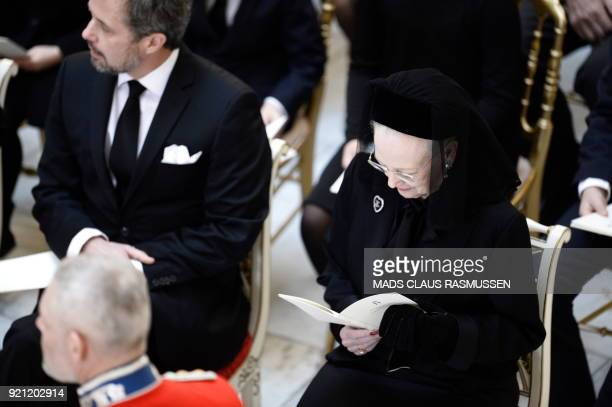 Denmark's Crown Prince Frederik and Denmark's Queen Margreth attend the funeral of Denmark's Prince Henrik at Christiansborg Palace Chapel in...