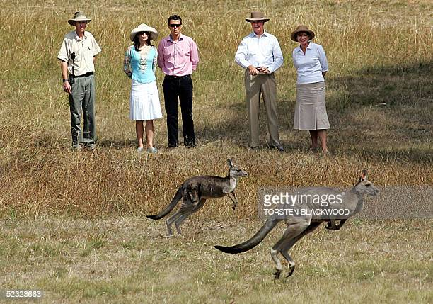 Denmark's Crown Prince Frederik and his Australian-born wife, Crown Princess Mary join Major General Michael Jeffrey , the Governor General of...