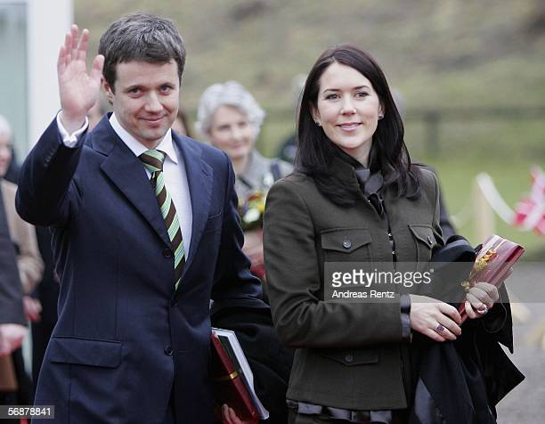 Denmark's Crown Prince Frederik and his wife Crown Princess Mary wave as they leave the museum of the former border 'Waldemarsmauer' between Denmark...
