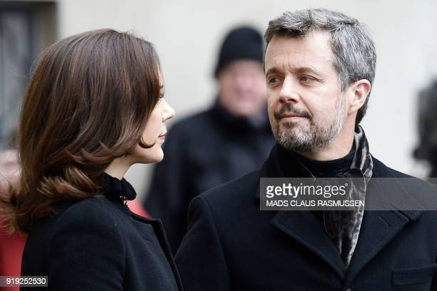 Denmark's Crown princess Mary and Crown prince Frederik arrive at the Christiansborg Palace Church where the Royal Danish family went to see Price...