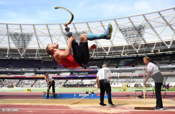 Denmark's Daniel Wagner celebrates winning the Men's Long Jump T42 Final during day five of the 2017 World Para Athletics Championships at London...