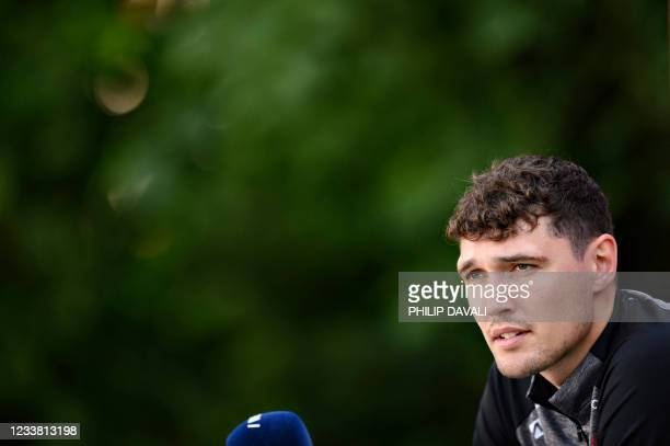 Denmark's defender Andreas Christensen attends a press conference in Elsinore, Denmark, on July 5 during the UEFA EURO 2020 football championship. -...