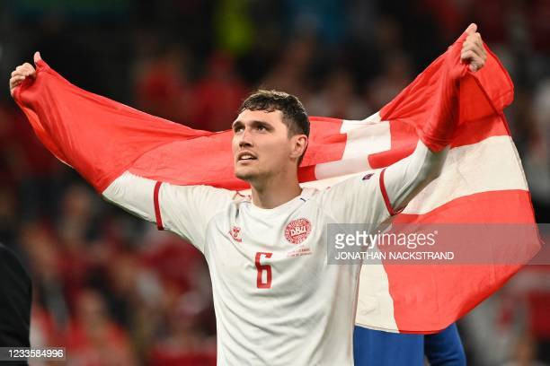 Denmark's defender Andreas Christensen celebrates at the end of the UEFA EURO 2020 Group B football match between Russia and Denmark at Parken...