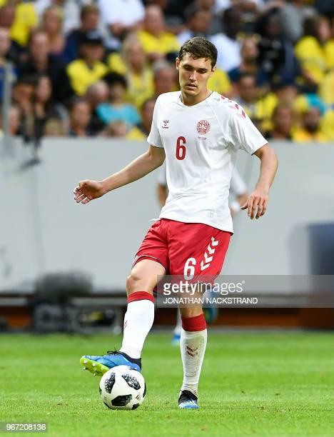 Denmark's defender Andreas Christensen controls the ball during the international friendly footbal match Sweden v Denmark in Solna Sweden on June 2...