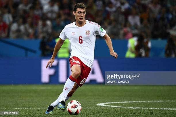 Denmark's defender Andreas Christensen controls the ball during the Russia 2018 World Cup round of 16 football match between Croatia and Denmark at...