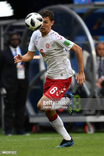 Denmark's defender Andreas Christensen runs with the ball during the Russia 2018 World Cup Group C football match between Denmark and Australia at...