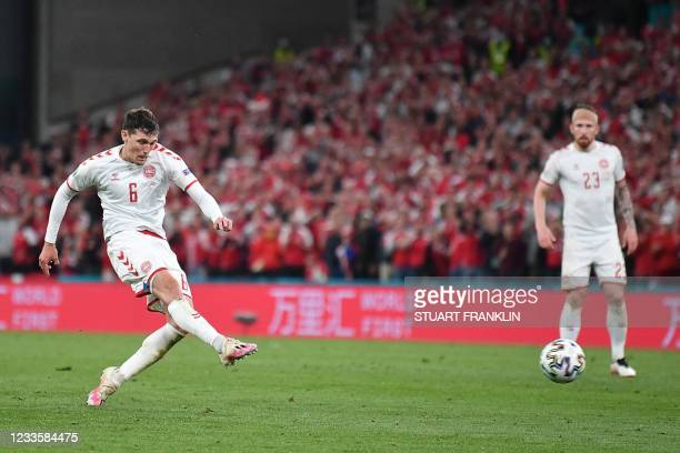 Denmark's defender Andreas Christensen shoots and scores a goal during the UEFA EURO 2020 Group B football match between Russia and Denmark at Parken...