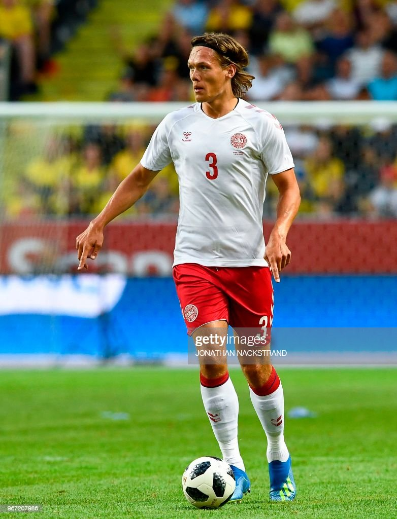Denmark's defender Jannik Vestergaard controls the ball during the international friendly footbal match Sweden v Denmark in Solna, Sweden on June 2, 2018.
