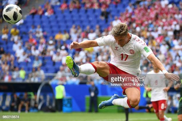 Denmark's defender Jens Stryger Larsen clears the ball during the Russia 2018 World Cup Group C football match between Denmark and Australia at the...