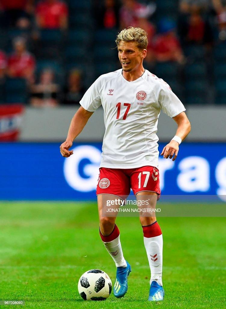 Denmark's defender Jens Stryger Larsen controls the ball during the international friendly footbal match Sweden v Denmark in Solna, Sweden on June 2, 2018.