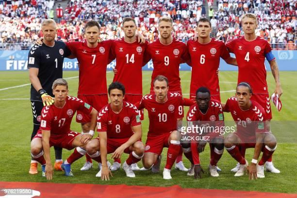 Denmark's defender Jens Stryger Larsen Denmark's midfielder Thomas Delaney Denmark's midfielder Christian Eriksen Denmark's forward Pione Sisto...
