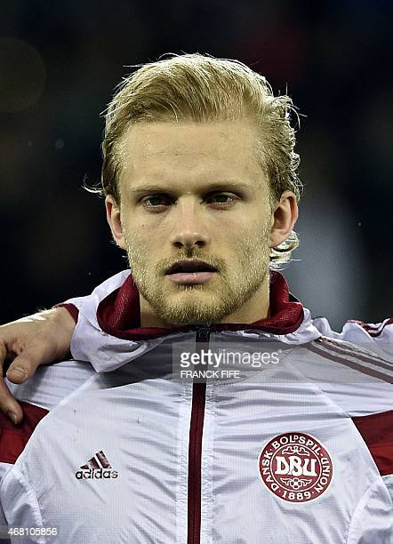 Denmark's defender Nicolai Boilesen looks on before the friendly football match France vs Denmark on March 29 2015 at the GeoffroyGuichard stadium in...