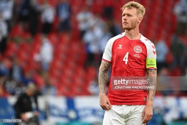 Denmark's defender Simon Kjaer looks on during the UEFA EURO 2020 Group B football match between Denmark and Finland at the Parken Stadium in...