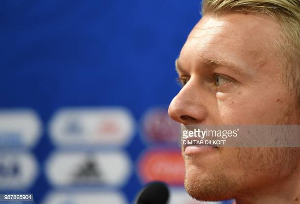 Denmark's defender Simon Kjaer reacts as he speaks during a press conference at the Nizhniy Novgorod stadium in Nizhniy Novgorod on June 30 2018 on...