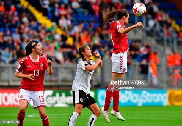 Denmark's defender Simone Boye Sorensen heads the ball during the UEFA Womens Euro 2017 football tournament semifinal match between Denmark and...