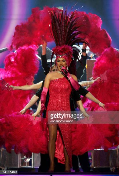 Denmark's entry to the Eurovision Song Contest 2007 Drama Queen alias Peter Andersen performs on stage during a dress rehearsal for the semi Final on...