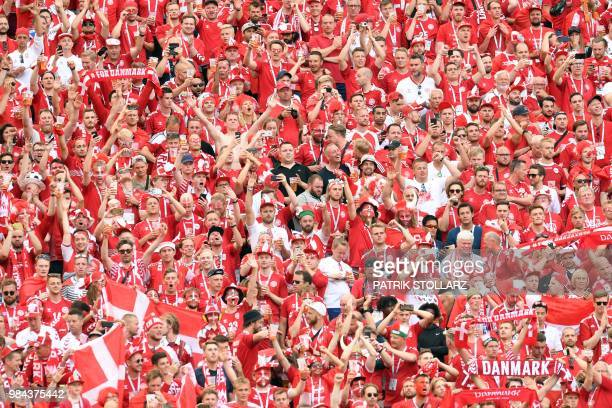Denmark's fans cheer their team during the Russia 2018 World Cup Group C football match between Denmark and France at the Luzhniki Stadium in Moscow...
