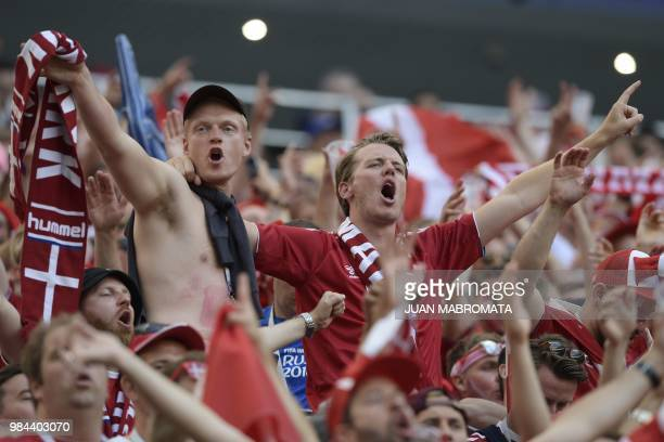 Denmark's fans react at the end of the Russia 2018 World Cup Group C football match between Denmark and France at the Luzhniki Stadium in Moscow on...